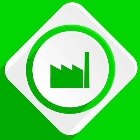 industrial complex: factory green flat icon