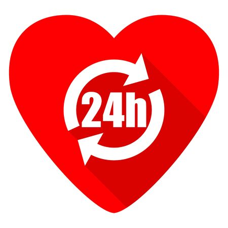 24h: 24h red heart valentine flat icon