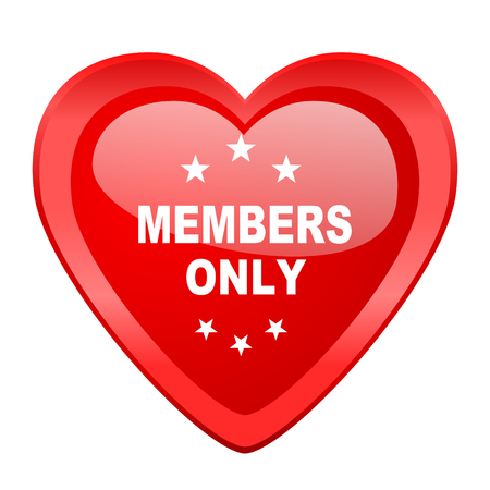 members only: members only red heart valentine glossy web icon