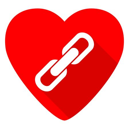 cohesion: link red heart valentine flat icon