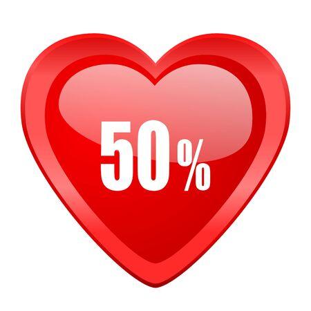 50: 50 percent red heart valentine glossy web icon
