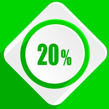 20: 20 percent green flat icon Stock Photo