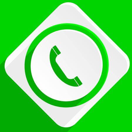 phone icon: phone green flat icon Stock Photo