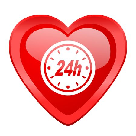 24h: 24h red heart valentine glossy web icon Stock Photo