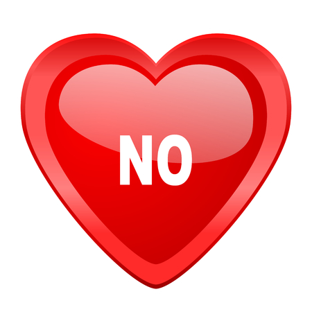 negate: no red heart valentine glossy web icon