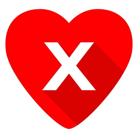 exclusion: cancel red heart valentine flat icon Stock Photo
