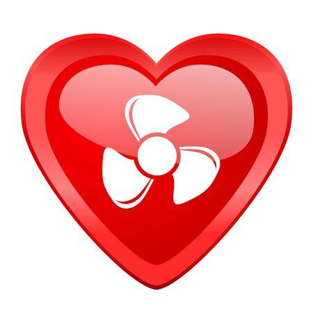 red fan: fan red heart valentine glossy web icon Stock Photo