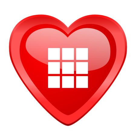 thumbnails: thumbnails grid red heart valentine glossy web icon Stock Photo