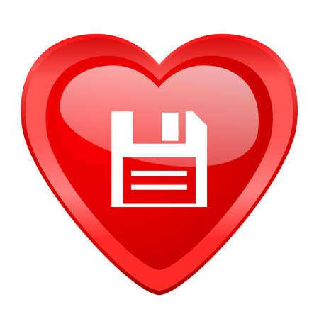 diskette: disk red heart valentine glossy web icon Stock Photo