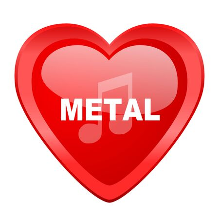 metal music: metal music red heart valentine glossy web icon Stock Photo