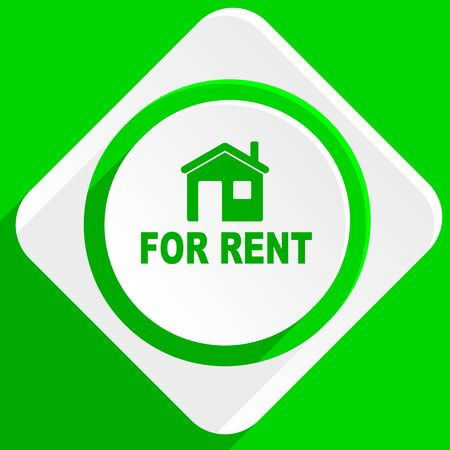 rent: for rent green flat icon