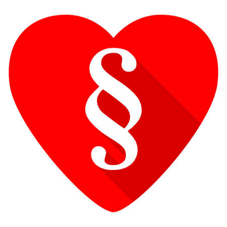 legislation: paragraph red heart valentine flat icon