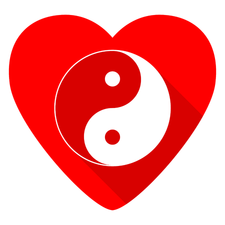 ying: ying yang red heart valentine flat icon Stock Photo