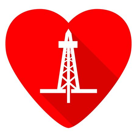 drilling: drilling red heart valentine flat icon