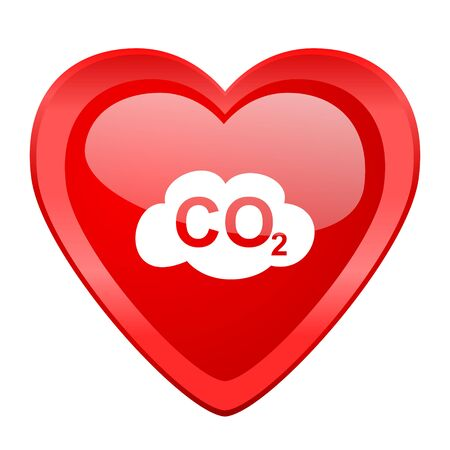 dioxide: carbon dioxide red heart valentine glossy web icon