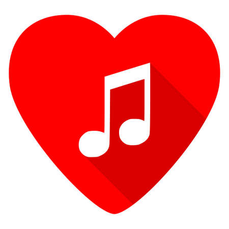 heart tone: music red heart valentine flat icon