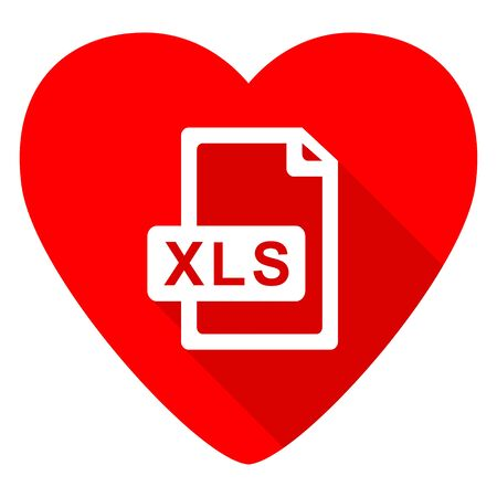 calc: xls file red heart valentine flat icon Stock Photo