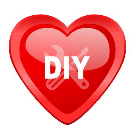 diy: diy red heart valentine glossy web icon Stock Photo