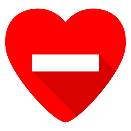 subtract: minus red heart valentine flat icon