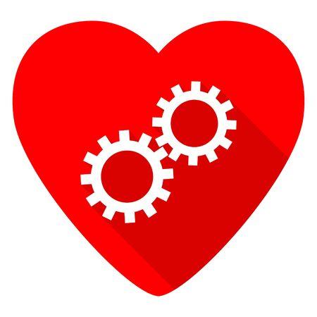 heart gear: gear red heart valentine flat icon Stock Photo