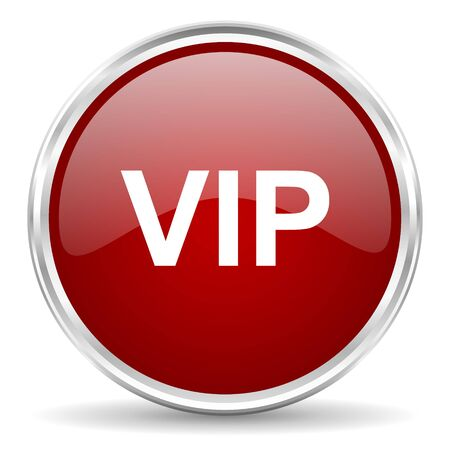 private club: vip red glossy circle web icon