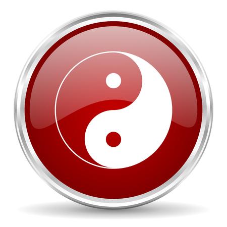 karma design: ying yang red glossy circle web icon