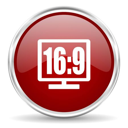 16 9: 16 9 display red glossy circle web icon Stock Photo