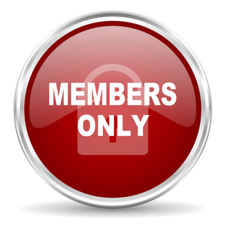 only members: members only red glossy circle web icon Stock Photo