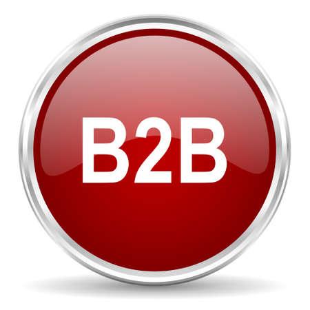 b2b: b2b icono rojo del Web del círculo brillante