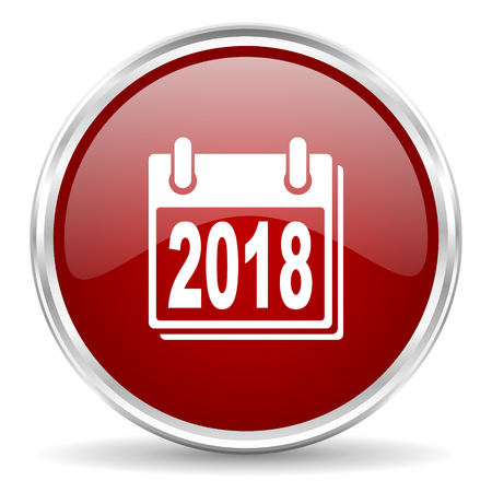 agenda year planner: new year 2018 red glossy circle web icon