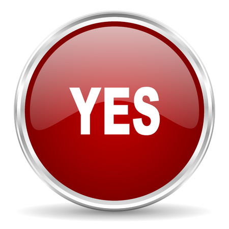 yea: yes red glossy circle web icon Stock Photo