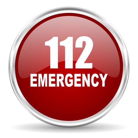 rescue circle: number emergency 112 red glossy circle web icon