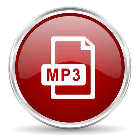 mp3: mp3 file red glossy circle web icon Stock Photo