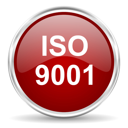 norm: iso 9001 red glossy circle web icon
