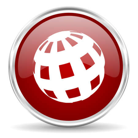 chrome ball: earth red glossy circle web icon Stock Photo