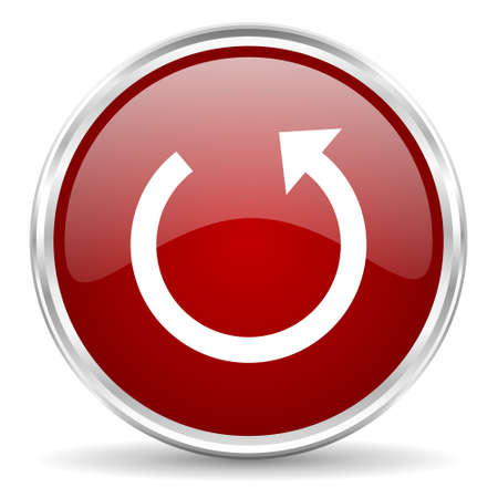 rotate: rotate red glossy circle web icon