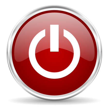 running off: power red glossy circle web icon