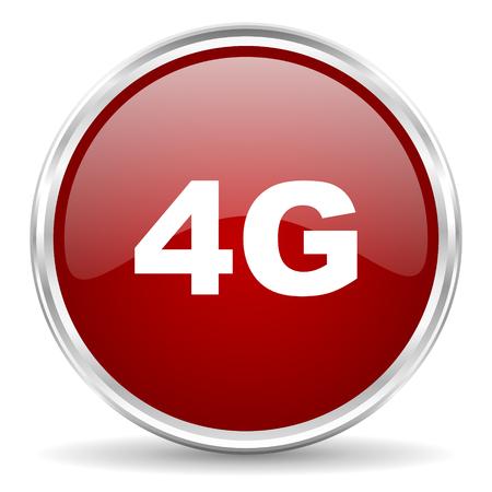 4g: 4g red glossy circle web icon