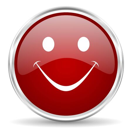 yea: smile red glossy circle web icon Stock Photo