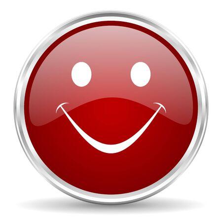 yea: smile red glossy circle web icon Stock Photo