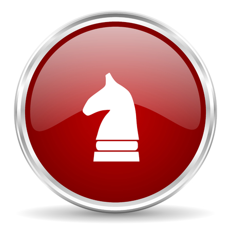 chess horse: chess horse red glossy circle web icon Stock Photo