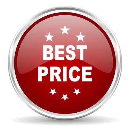 at best: best price red glossy circle web icon Stock Photo