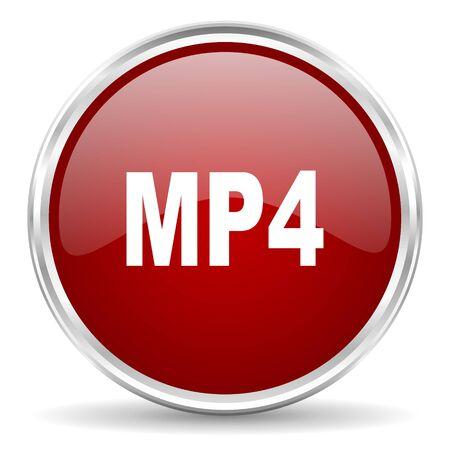 mp4: mp4 red glossy circle web icon