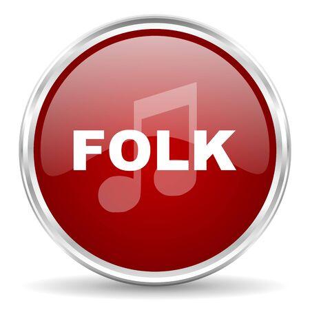 folk music: folk music red glossy circle web icon Stock Photo