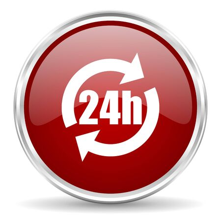 24h: 24h red glossy circle web icon