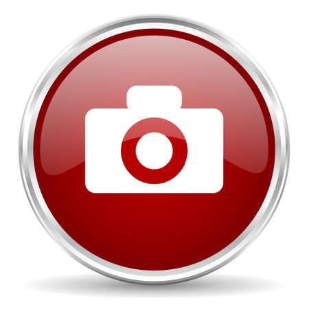 picto: camera red glossy circle web icon
