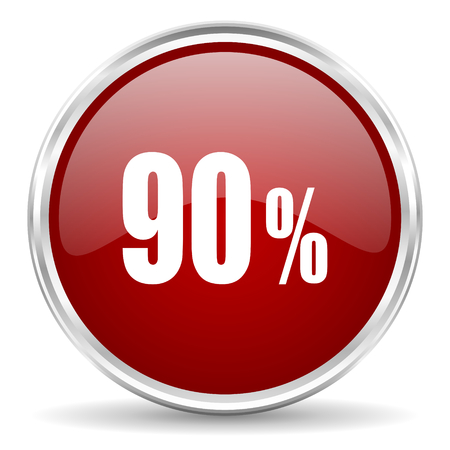 90: 90 percent red glossy circle web icon