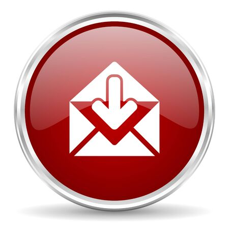 contacting: email red glossy circle web icon