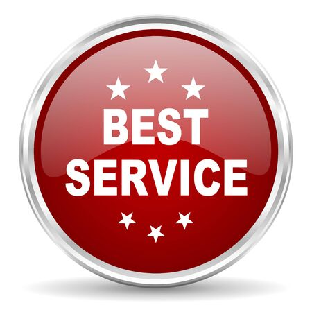 best service: best service red glossy circle web icon