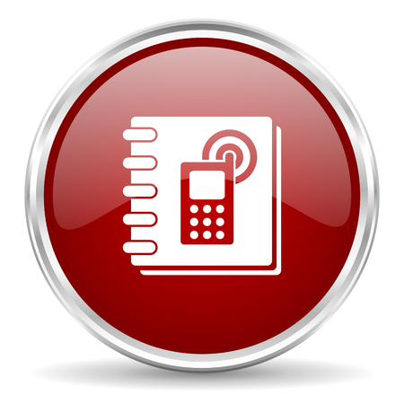 phonebook: phonebook red glossy circle web icon